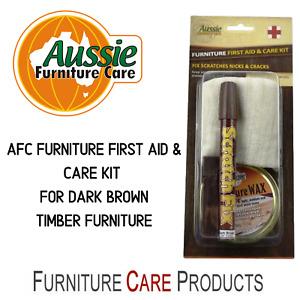 Timber Furniture Repair Kit with Scratch Fix Wax Filler & Wax Polish Dark Brown