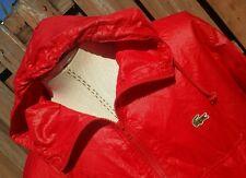 Vtg Izod Lacoste Retro Aligator PACKABLE Windbreaker Wet Look Rain Coat Jacket M