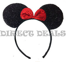 Minnie Mouse Ears Headband Black Shiny Cute Red Bow Party Favors Costume Mickey