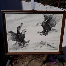 """13"""" X 17"""" Framed Pen and Ink Print Eagle Days Mo Dept Conservation 1999-2000"""
