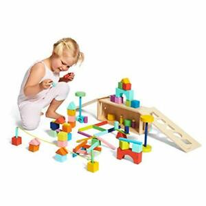 Set Building Blocks and Shapes Wooden Storage Box 70 Pieces Perfect Gift New