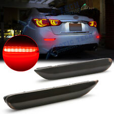 Smoked LED Bumper Brake Light Sequential Turn Signal For Infiniti Q50 QX Nissan