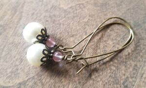 Pearl Earrings Bronze Vintage Style Rose Quartz Beaded Made In USA
