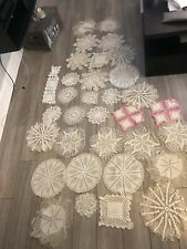 Huge Craft Lot Of Vintage Crocheted - Lace Doilies White and Beige
