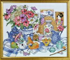 ORIENTAL DELFTWARE FRUIT & FLOWERS CROSS STITCH KIT by DESIGN WORKS CRAFTS ~
