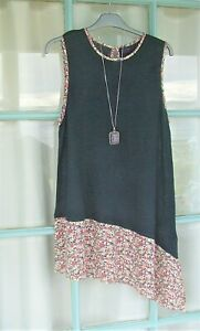 NEXT Asymmetric Navy Tunic Top fits 16- label 18 Linen blend and ditsy contrasts