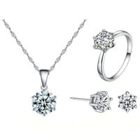 White Topaz S925 Pendant Necklace Earrings Ring Women Wedding Jewelry Set OT2