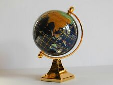 "Tabletop Rotating World Globe Semi Precious Stones and Shells  6"" w/ Brass Stand"