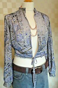Ladies Vintage 1970s Tie Waist Open Top/Jacket.  Purple/Black/Silver Paisley.