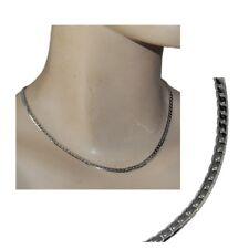 Collier grosse chaîne argent massif 925 maille anglaise diamantée défaut bijou