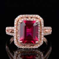 Natural Diamond Emerald Cut Red Ruby Birthday Solitaire Ring Solid 14K Rose Gold