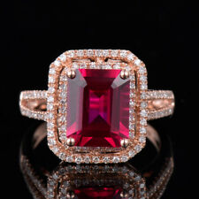 Natural Diamond Emerald Cut Red Ruby Engagement Ring Solid 18K Rose Gold Jewelry