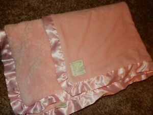 30x40 PICKLES Pink Plush Velour Faux Fur Satin Baby Crib Blanket Lovey