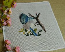 "10"" Preworked Needlepoint Canvas Bluebird on branch Design Finished Handmade"