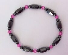 Ladies Hematite High Power Magnetic Stretch Bracelet Pink Black Beads Rheumatism