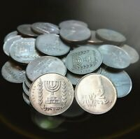 Lot Of 30 Old Israeli Coins Half 1/2 Lira Pound Collection Israel Menorah Temple