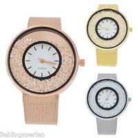 Damen Uhr Armbanduhr Quarzuhr Analoguhr Strass Stahlband modish Geschenk 22cm