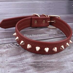 Spiked Dog Collar Leather Adjustable Neck Strap Medium Breeds One Row Studded