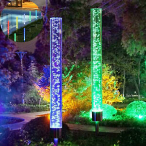 Solar Powered LED Light Acrylic Bubble RGB Lamp Patio Deco Color Changing Lawn