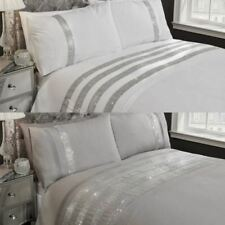 CARLY MODERN DIAMANTE SPARKLE DUVET COVER EASY CARE BLING QUILT SETS