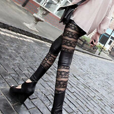 Woman Faux Leather Lace Up Punk Gothic Cluewear Black Tight Fashion Pants