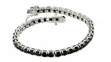 925 STERLING SILVER LADIES TENNIS BRACELET W/ BLACK ONYX / 7.5'' LONG/ELEGANT