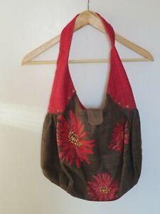 TRAID CRAFT Brown Handmade Hand Woven 100% Hemp Shoulder Bag Printed Flower
