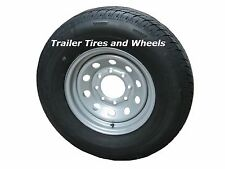 """235/80R16 LRE 10 PR RN Radial Trailer Tire on 16"""" 8 Lug Silver Mod Trailer Wheel"""