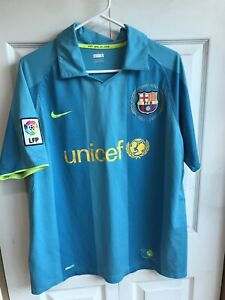 Vintage Nike Fit FC Barcelona Teal Jersey #17 Giouani Short Sleeve Polo Sz Large