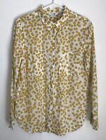 Boden Womens Size 6 Lightweight Shirt White Yellow Button Down Top Long Sleeve