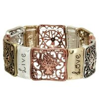 Tree of Life Bracelet Stretch Bangle Inspirational Live Love Filigree COPPER