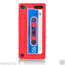 APPLE iPod Touch 5 RETRO STYLE CASSETTE TAPE SILICONE SKIN COVER CASE RED