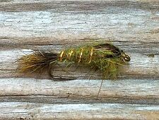 Fly Fishing Flies (Bass, Bream, Trout, Salmon) Hare's Ear Olive Fly (6 flies)