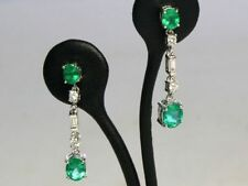 Emerald Diamond Natural White Gold Fine Earrings