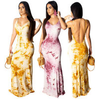 Sexy Women's Spaghetti Strap Print Backless Casual Club Party Summer Long Dress