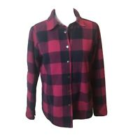 Womens ORVIS Flannel Shirt Jacket Snap Front Check Medium