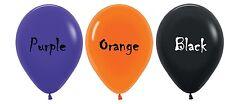 Halloween Party Supplies Coloured Latex Balloons - Orange, Black, Purple - 6pk