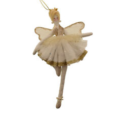 Fabric White & Gold Fairy Ballerina Angel Hanging Christmas Tree Decoration 29cm