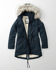 NWT Abercrombie & Fitch SHERPA LINED MILITARY HOODIE FUR PARKA JACKET S Navy