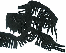 BLACK FAUX SUEDE TRIM WITH FRINGE, 4.5CM WIDE, X2 METRES, ART SU244, FREE P&P