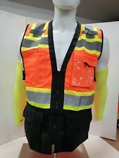 Tri Color Orange High Visibility Safety Vest With Id Pocket Mesh In The Back