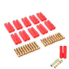 10pack HXT 4mm bullet banana plugs with red housing for RC connector AM-1009RDBD