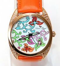 Lucien Piccard Women's Watch Multi Color Flowers Orange Leather 28146RO Crystals