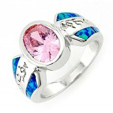 Sterling Silver Pink CZ Ring with Opal Inlay Size 6