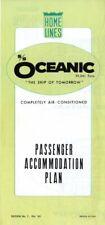 1965 Home Lines OCEANIC Maiden Voyage Year Tissue Deck Plan- Excellent Condition