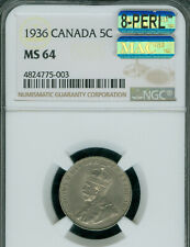1936 CANADA 5 CENTS NGC MS64 8PERL 2ND FINEST MAC SPOTLESS *