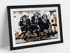 BANKSY 3 WISE MONKEYS -ART FRAMED POSTER PICTURE PRINT ARTWORK- WHITE BEIGE