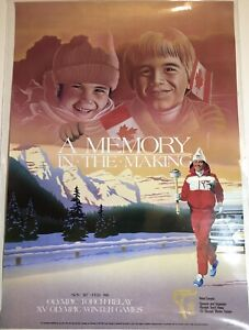 1987 1988 Calgary Winter Olympics Torch Relay Poster Canada XV 15 Winter Games