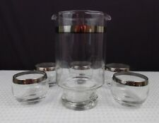 Vintage Dorothy Thorpe Roly Poly Silver Rim Snifters & Mixer 5 pc MCM