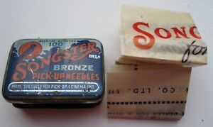 Songster Bronze Pick-Up Needles Tin with papers and unused needles - nearly full
